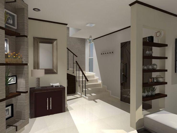 AurEa 34 -Arquitectura tu Espacio- Modern corridor, hallway & stairs Beige