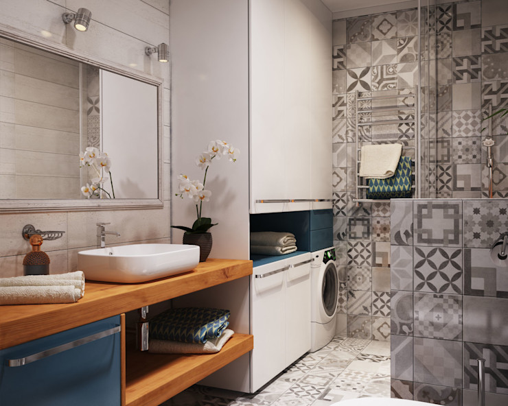 Apartament Verbi Polygon arch&des Ванная комната в стиле минимализм Плитка Белый
