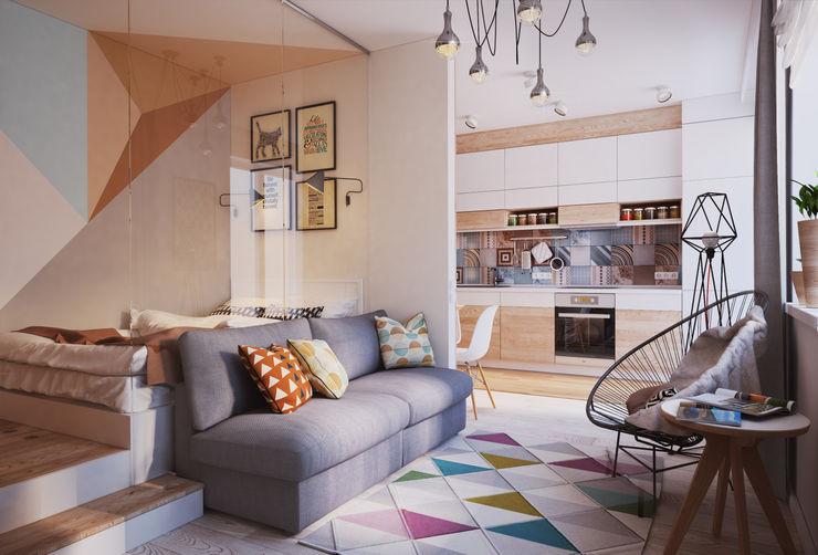 Living room Polygon arch&des Minimalist living room