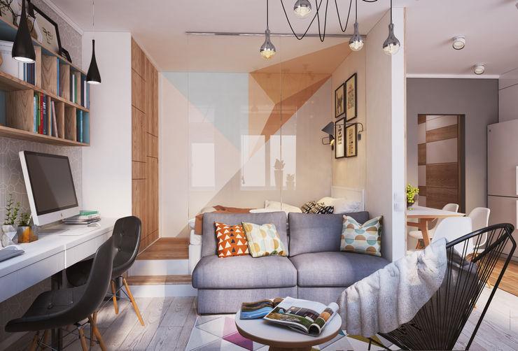 """APARTMENT """"VERBI"""" Polygon arch&des Dormitorios de estilo minimalista Blanco"""