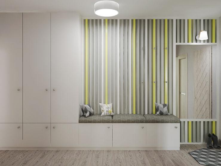 Яркая квартира Olesya Parkhomenko Коридор, прихожая и лестница в модерн стиле Желтый