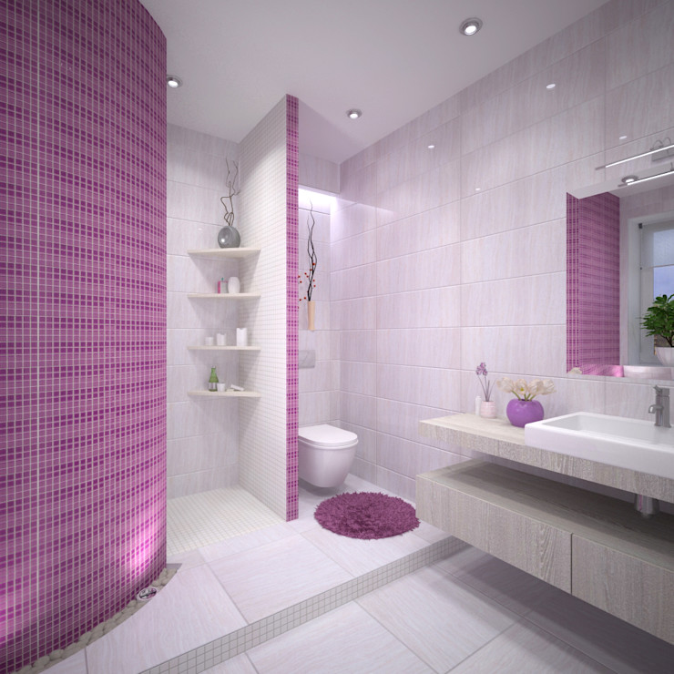 Студия дизайна Виктории Силаевой Minimalistische Badezimmer Lila/Violett