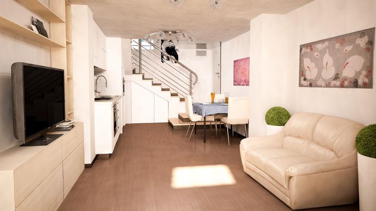 Sala con angolo cottura Proreal3D Sala da pranzo moderna Bianco