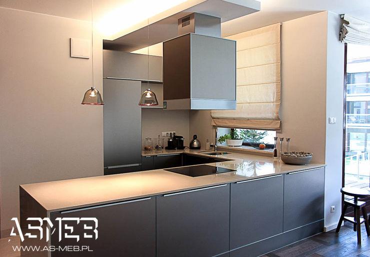 AS-MEB Moderne Küchen Glas Beige