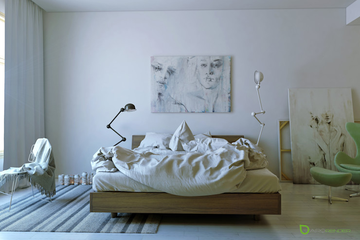 The Bed ArqRender Dormitorios modernos: Ideas, imágenes y decoración Blanco