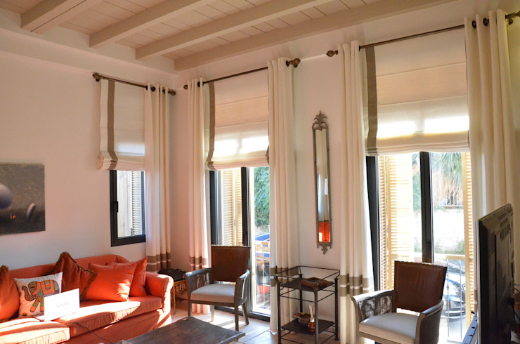 Alaçatı, Oturma Odası Perde Uygulama Levent Home Collection Modern Oturma Odası Keten Beyaz