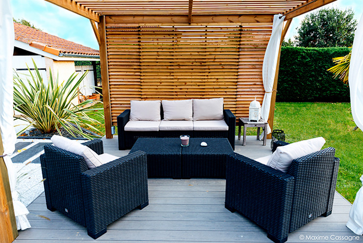 E/P ESPACE DESIGN - Emilie Peyrille Moderner Balkon, Veranda & Terrasse Holznachbildung