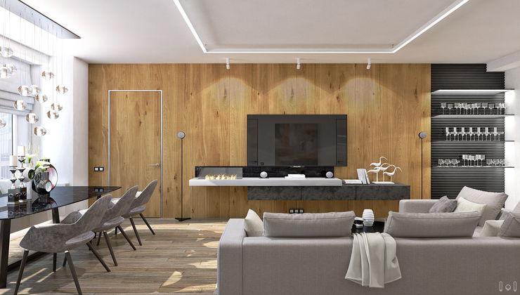 1+1 studio Minimalist living room