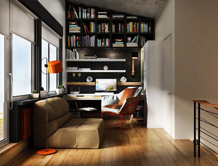 he.d group industrial style corridor, hallway & stairs Wood Brown