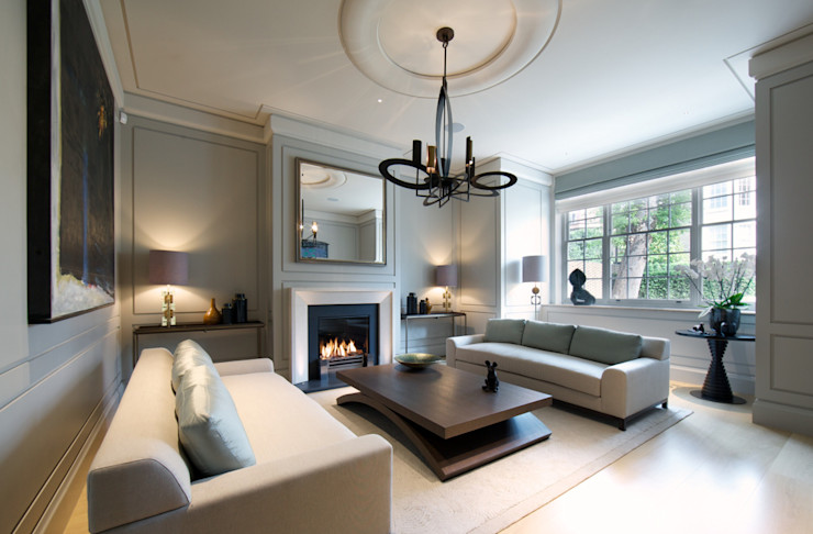Sitting room Bedford Gardens house. Nash Baker Architects Ltd Modern living room Grey