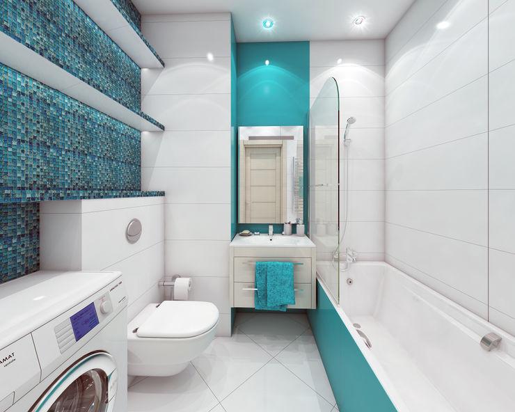 ЖК Мортон Град, логово холостяка. Лето Дизайн Ванная комната в стиле минимализм Бирюзовый