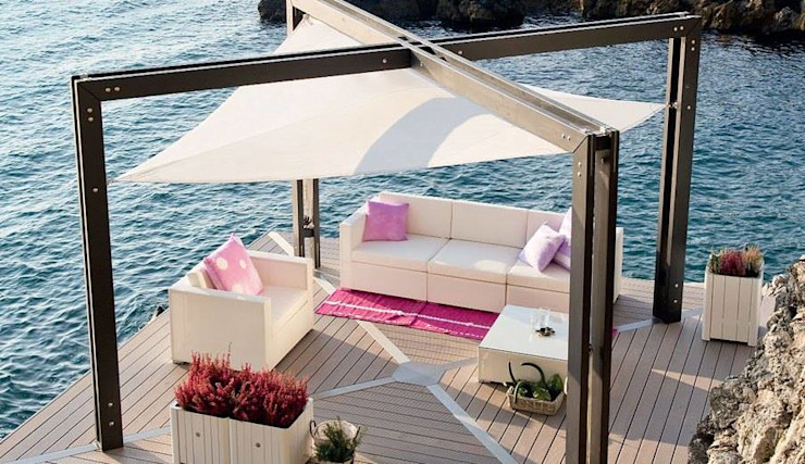 JS ARQUITECTURA Modern balcony, veranda & terrace