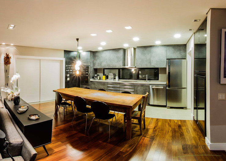 cunha² arquitetura Comedores de estilo minimalista Madera maciza