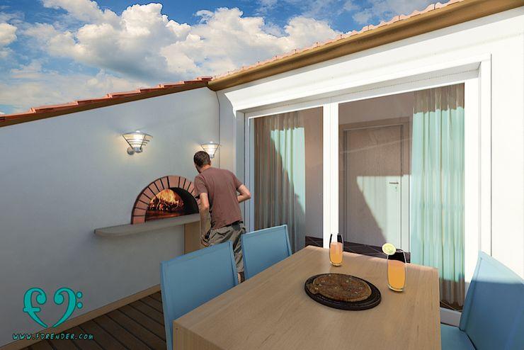 Terrazza Damiano Ferrando | Architectural Visualization | Balcone, Veranda & Terrazza in stile moderno