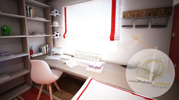 """Projecto de Decoração Quarto de menino """"Simple Star"""" - by Andreia Louraço Design e Interiores Andreia Louraço - Designer de Interiores (Email: andreialouraco@gmail.com) Quartos de criança modernos Branco"""
