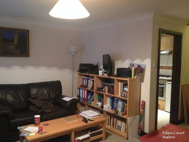 Living and kitchen before Katie Malik Interiors