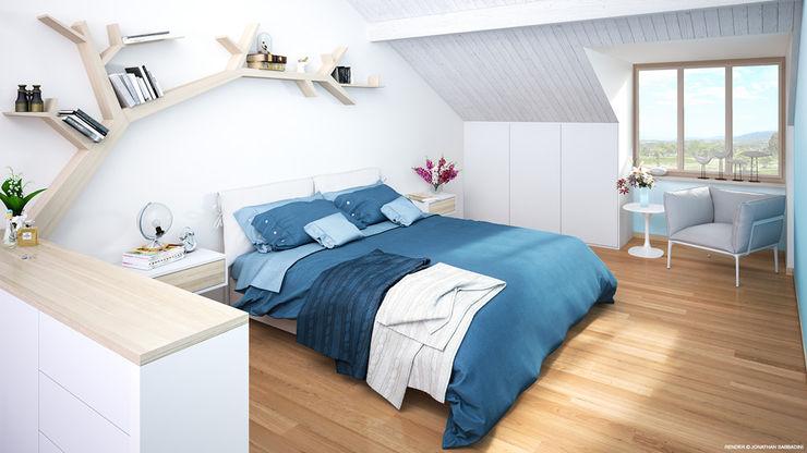 Ristrutturazione di un vecchio mulino a Jussy - camera da letto matrimoniale Jonathan Sabbadini Camera da letto in stile scandinavo Legno Bianco