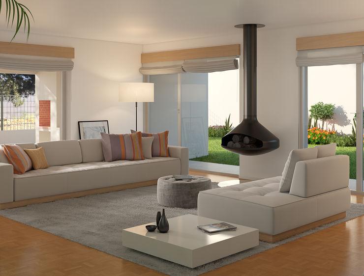 Miguel Ferreira Arquitectos Modern living room White