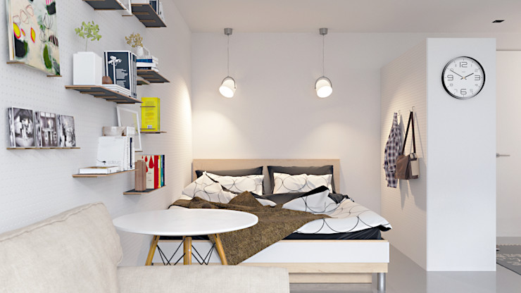 homify Scandinavian style bedroom White