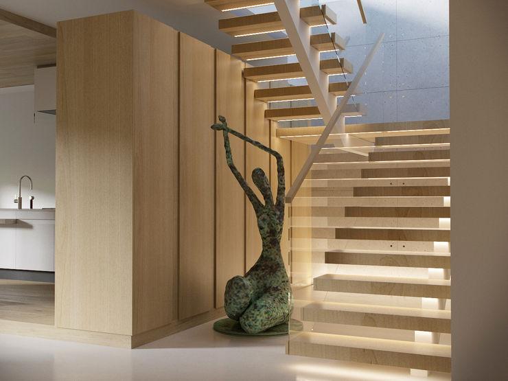 AShel Minimalistyczny korytarz, przedpokój i schody Drewno Pomarańczowy