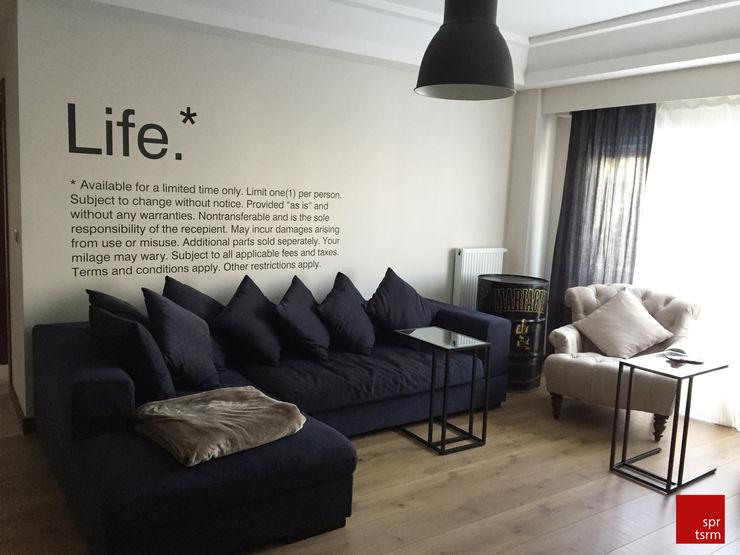 SPR TASARIM_Project Y_living room SPR TASARIM MIMARLIK IC MIMARLIK DANISMANLIK Endüstriyel Oturma Odası