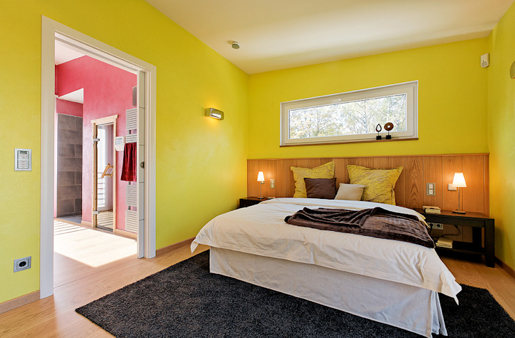 LUXHAUS Musterhaus Georgensgmünd Lopez-Fotodesign Moderne Schlafzimmer Gelb