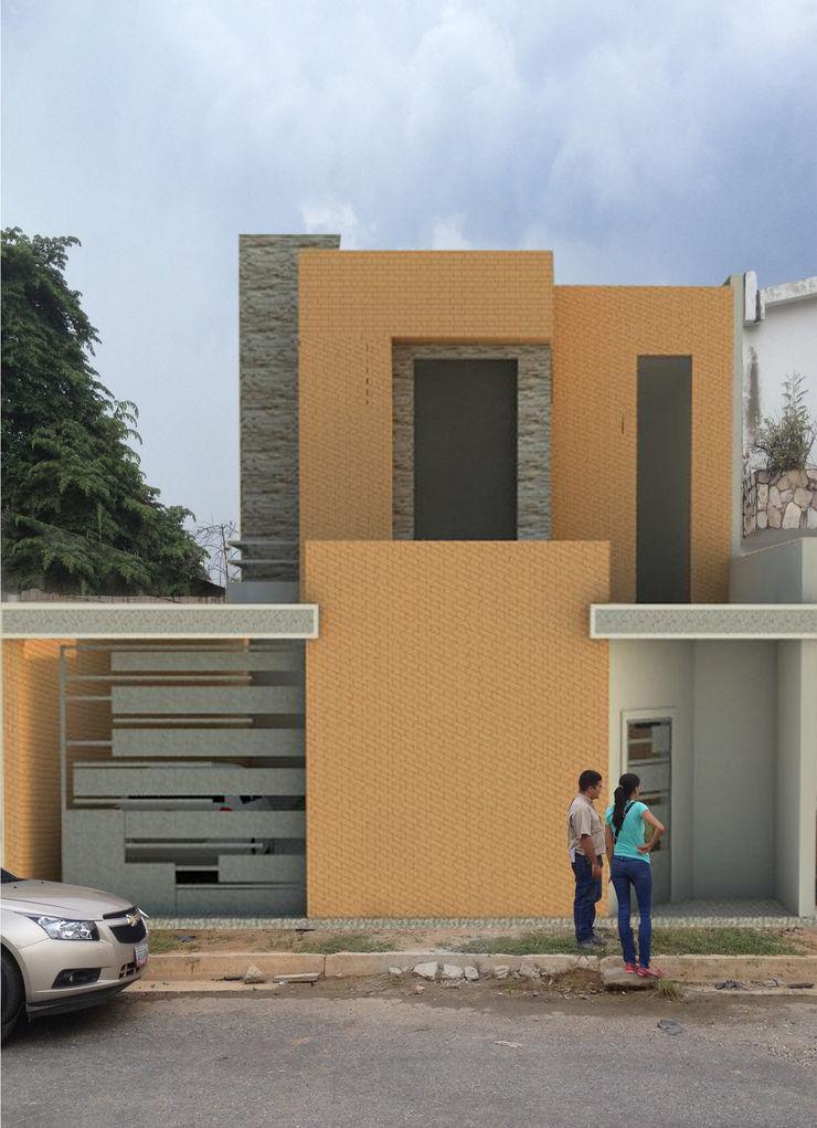Fachada principal de vivienda unifamiliar FAMILIA SANABRIA 3R. ARQUITECTURA Casas de estilo ecléctico Ladrillos Multicolor