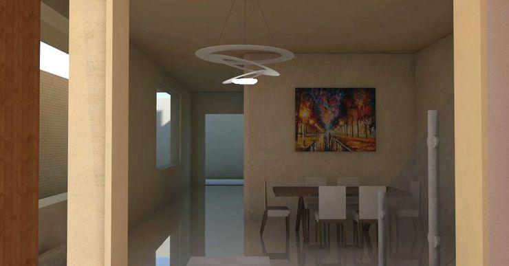 Sala comedor de vivienda unifamiliar FAMILIA SANABRIA 3R. ARQUITECTURA Salas de estilo minimalista Madera Blanco