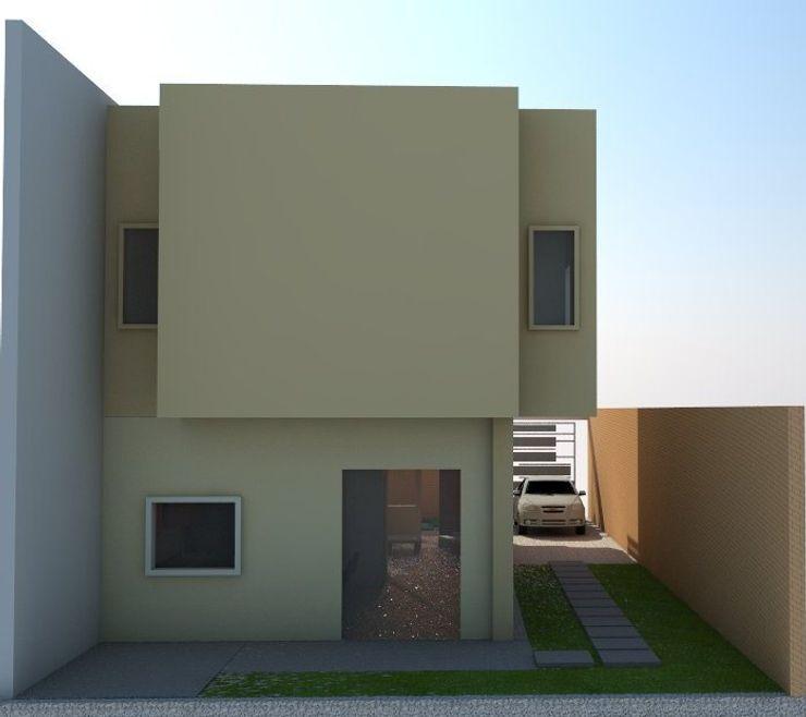 fachada posterior de vivienda unifamiliar FAMILIA SANABRIA 3R. ARQUITECTURA Casas de estilo ecléctico Blanco