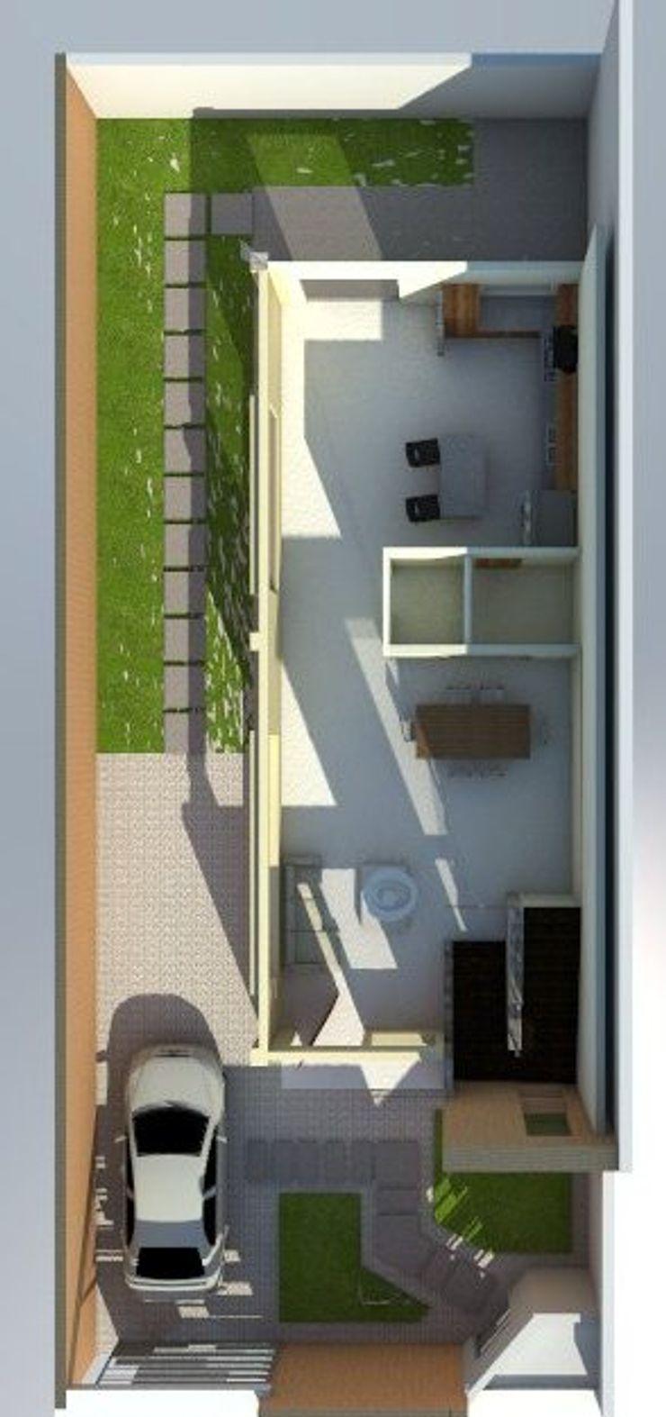 Planta baja de vivienda unifamiliar FAMILIA SANABRIA 3R. ARQUITECTURA Salas de estilo minimalista Cerámica Blanco