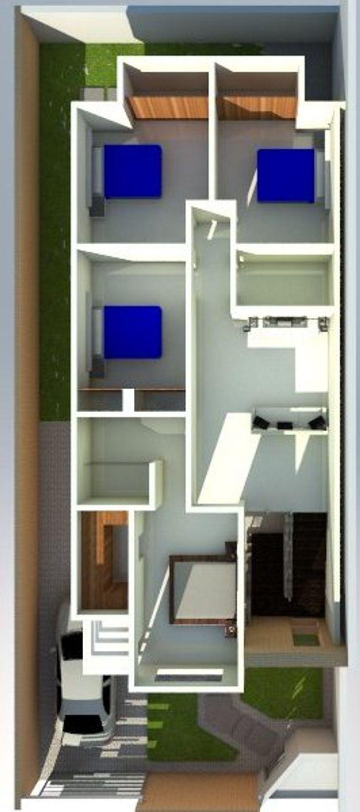 de vivienda unifamiliar FAMILIA SANABRIA 3R. ARQUITECTURA Cuartos de estilo ecléctico Cerámica Blanco