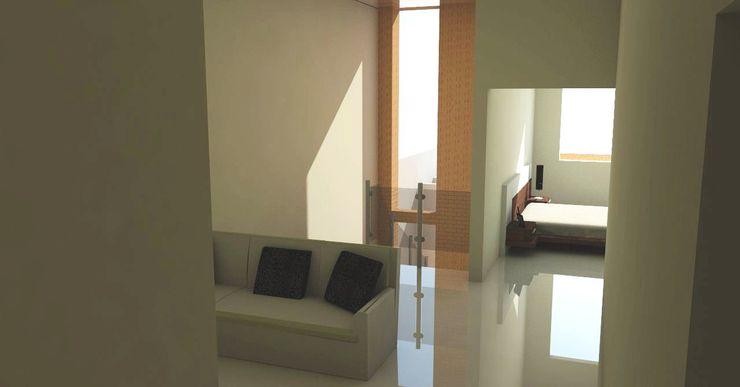 sala estar de vivienda unifamiliar FAMILIA SANABRIA 3R. ARQUITECTURA Salas de entretenimiento de estilo ecléctico Beige