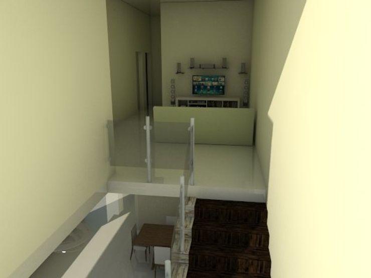 escalera de vivienda unifamiliar FAMILIA SANABRIA (Planta alta) 3R. ARQUITECTURA Salas de entretenimiento de estilo ecléctico Beige