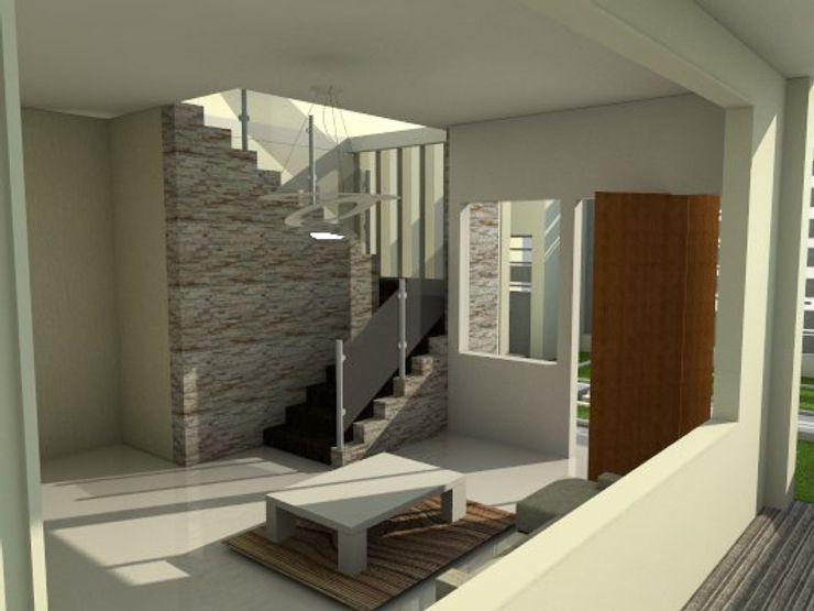 escalera de vivienda unifamiliar FAMILIA SANABRIA (Planta alta) 3R. ARQUITECTURA Paredes y pisos de estilo ecléctico