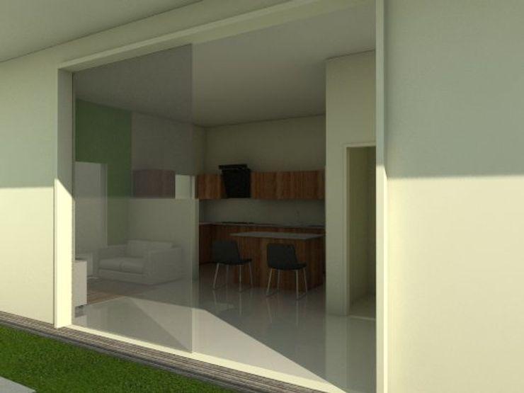 Cocina de vivienda unifamiliar FAMILIA SANABRIA 3R. ARQUITECTURA Cocinas de estilo ecléctico Derivados de madera Acabado en madera