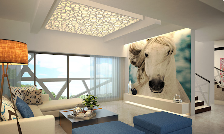 MODERN GREEK THEMED BUNGALOW SCHEME,KHANDALA AIS Designs Mediterranean style living room