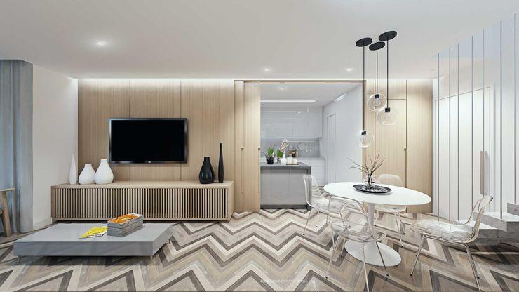 Sala de Estar e Jantar fpr Studio Salas de estar escandinavas Branco