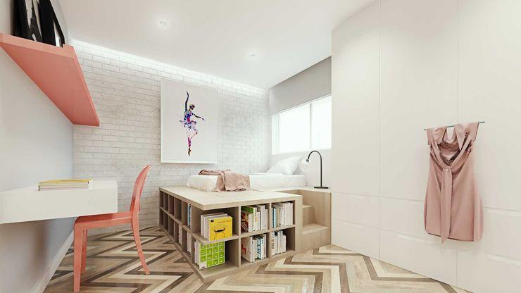 fpr Studio Dormitorios de estilo escandinavo Blanco