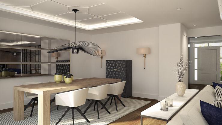 Disak Studio Moderne Esszimmer Holz Weiß