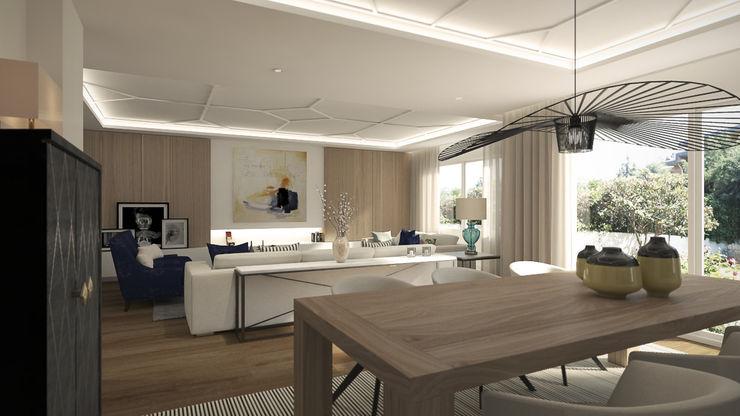 Disak Studio Moderne Wohnzimmer Holz Weiß