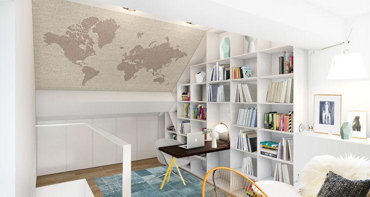 ZR-architects Skandinavische Arbeitszimmer Weiß