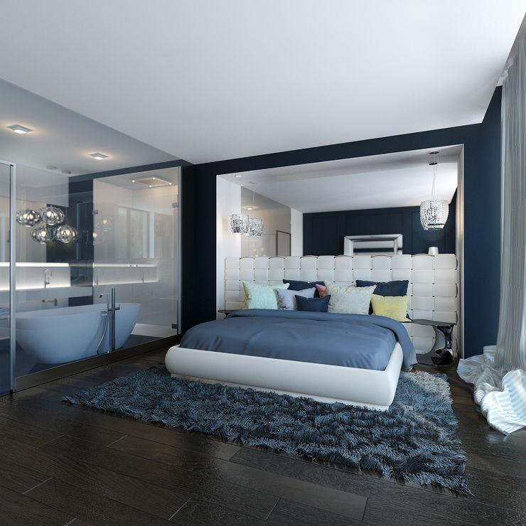 ZR-architects Camera da letto moderna