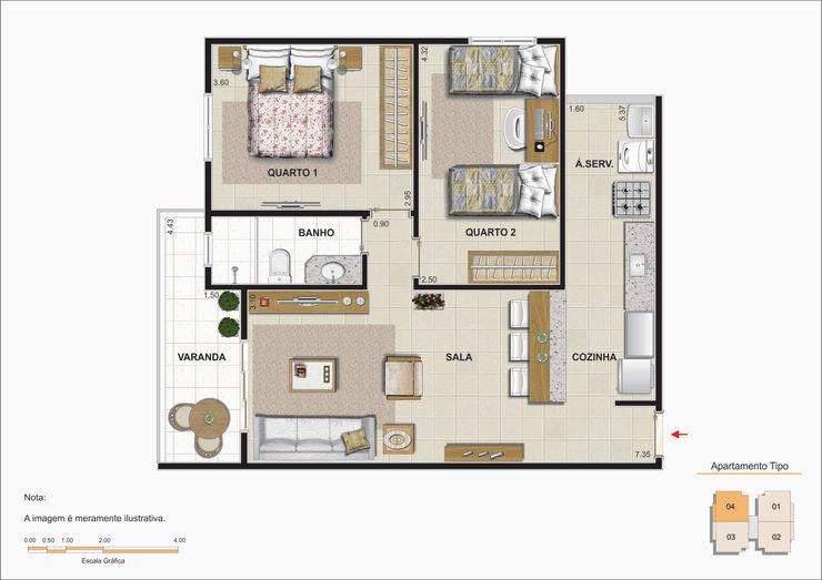 Planta baixa do apartamento padrão. Studio HG Arquitetura Salas de estar minimalistas