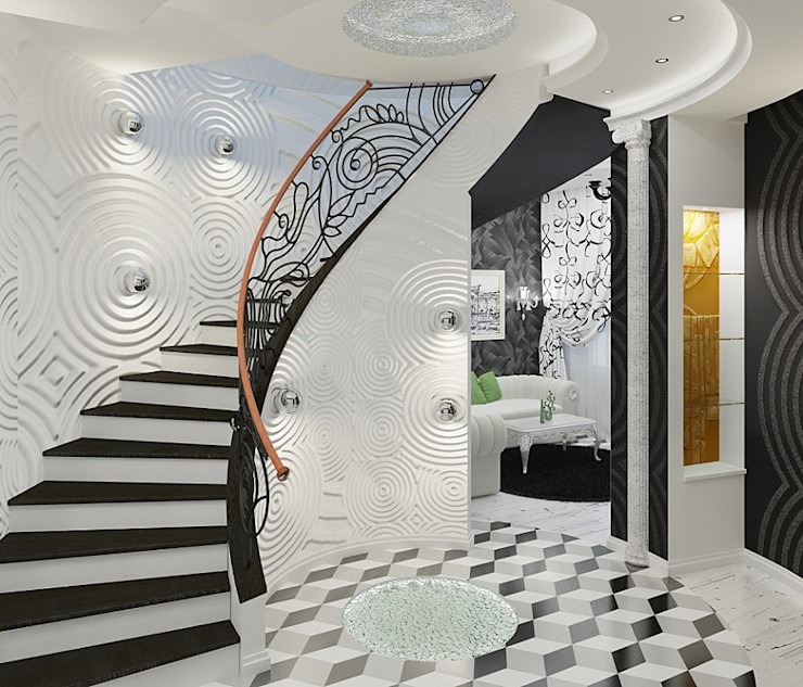 Alena Gorskaya Design Studio Eclectic corridor, hallway & stairs White
