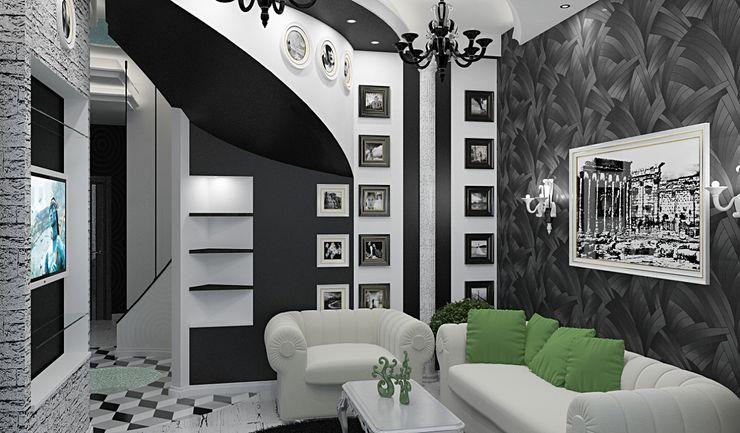 Alena Gorskaya Design Studio Living room Black