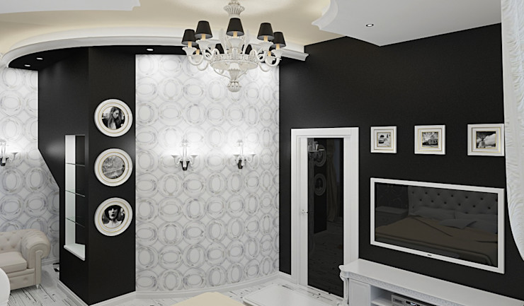 Alena Gorskaya Design Studio Eclectic style bedroom Black