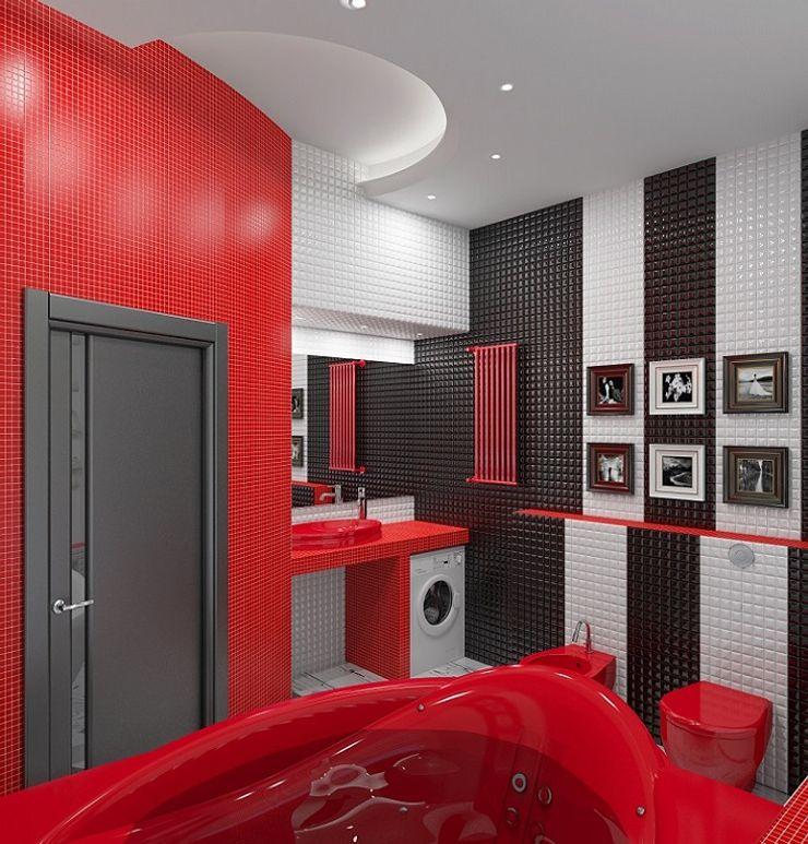Alena Gorskaya Design Studio Eclectic style bathrooms Red