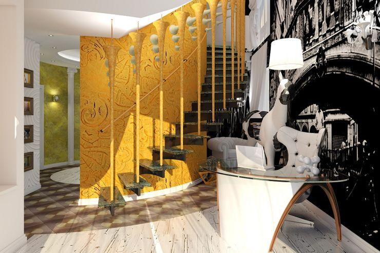 Alena Gorskaya Design Studio Eclectic corridor, hallway & stairs Yellow
