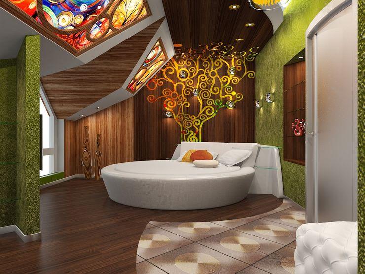 Alena Gorskaya Design Studio Eclectic style balcony, porch & terrace Wood Green