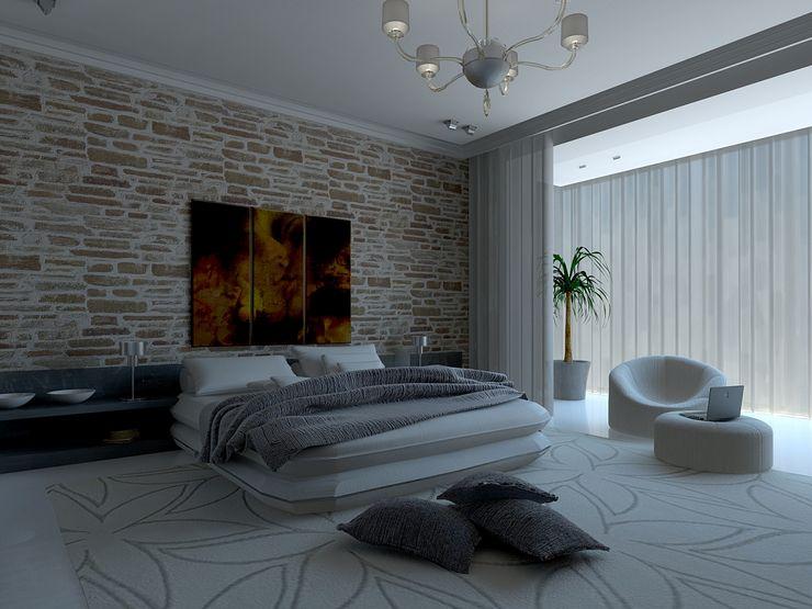 Tatiana Sukhova インダストリアルスタイルの 寝室